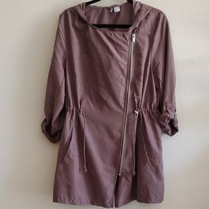 H&M • Lightweight Asymmetrical Zip Hooded Jacket